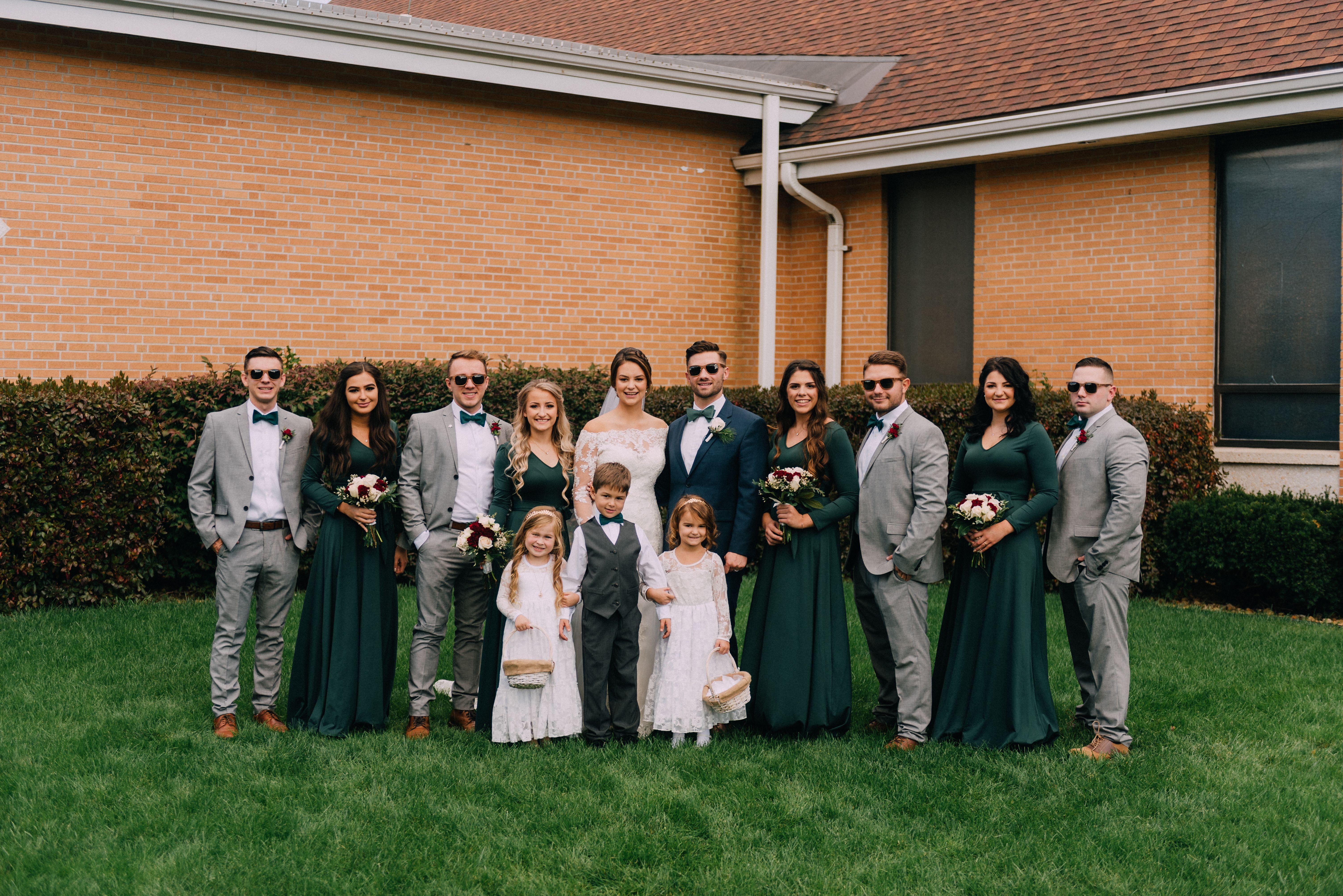 Grey Navy Blue Suits On Grooms Men Green Bridesmaid Dresses Green Bridesmaid Dresses Green Bridesmaid Maroon Wedding