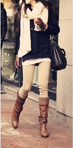 beige pants, brown boots, black jumper, cream scarf