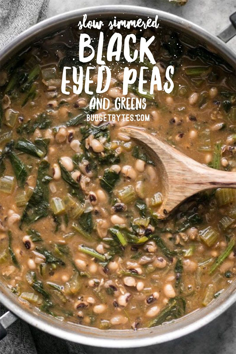 Slow Simmered Black Eyed Peas and Greens - Budget Bytes