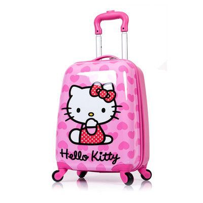 HOT anime girl luggage child rolling suitcase hello kitty cartoon ...