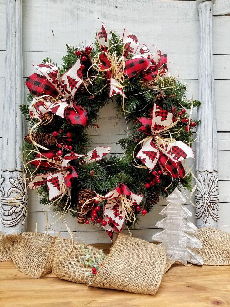 Bear Moose Burlap Buffalo Plaid Farmhouse Christmas Front Door