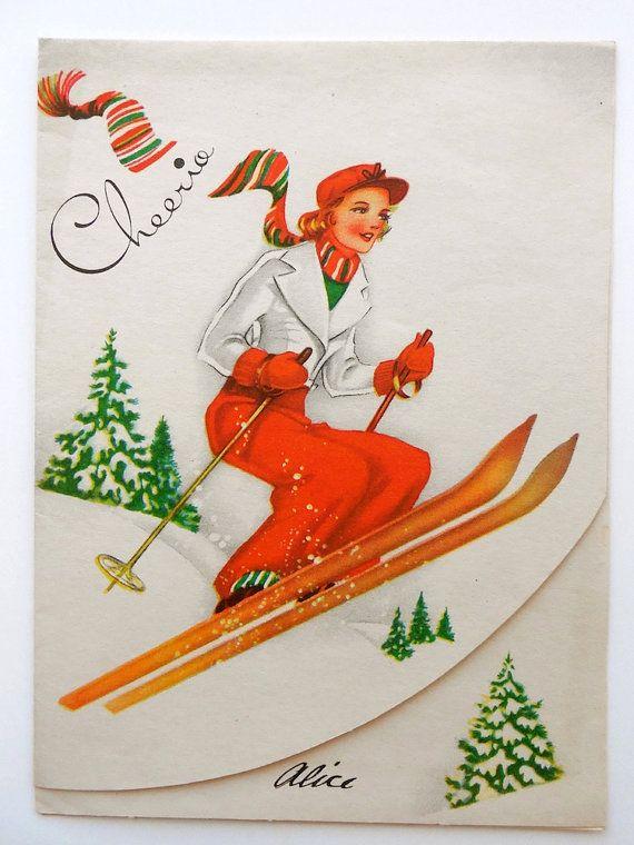 Vintage Ski Christmas Greeting Card