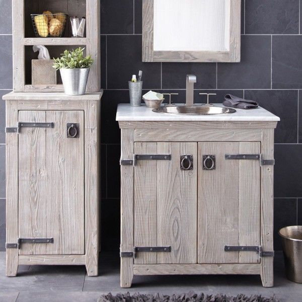 Charmant Furniture Creative Distressed Wood Bathroom Vanities Using Rustic White Oak  Cabinets With Antique Iron Strap Hinges And Hammered Copper Undermount Sink  ...