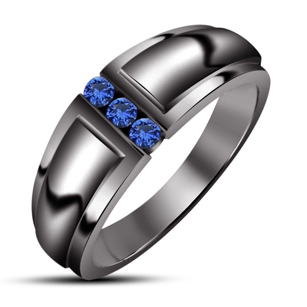 14k Black Gold 100 Ctw Blue Sapphire 3 Stone Man's Wedding Band Ring Size 9: Blue Shappire Black Wedding Band At Reisefeber.org
