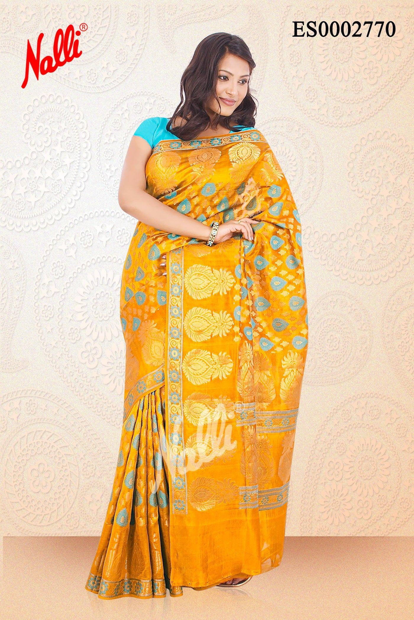b4eb11b6d640df Mustard Banaras  Dupion Silk Saree with Body Butta and Zari Border.  Includes Unstitched Blouse