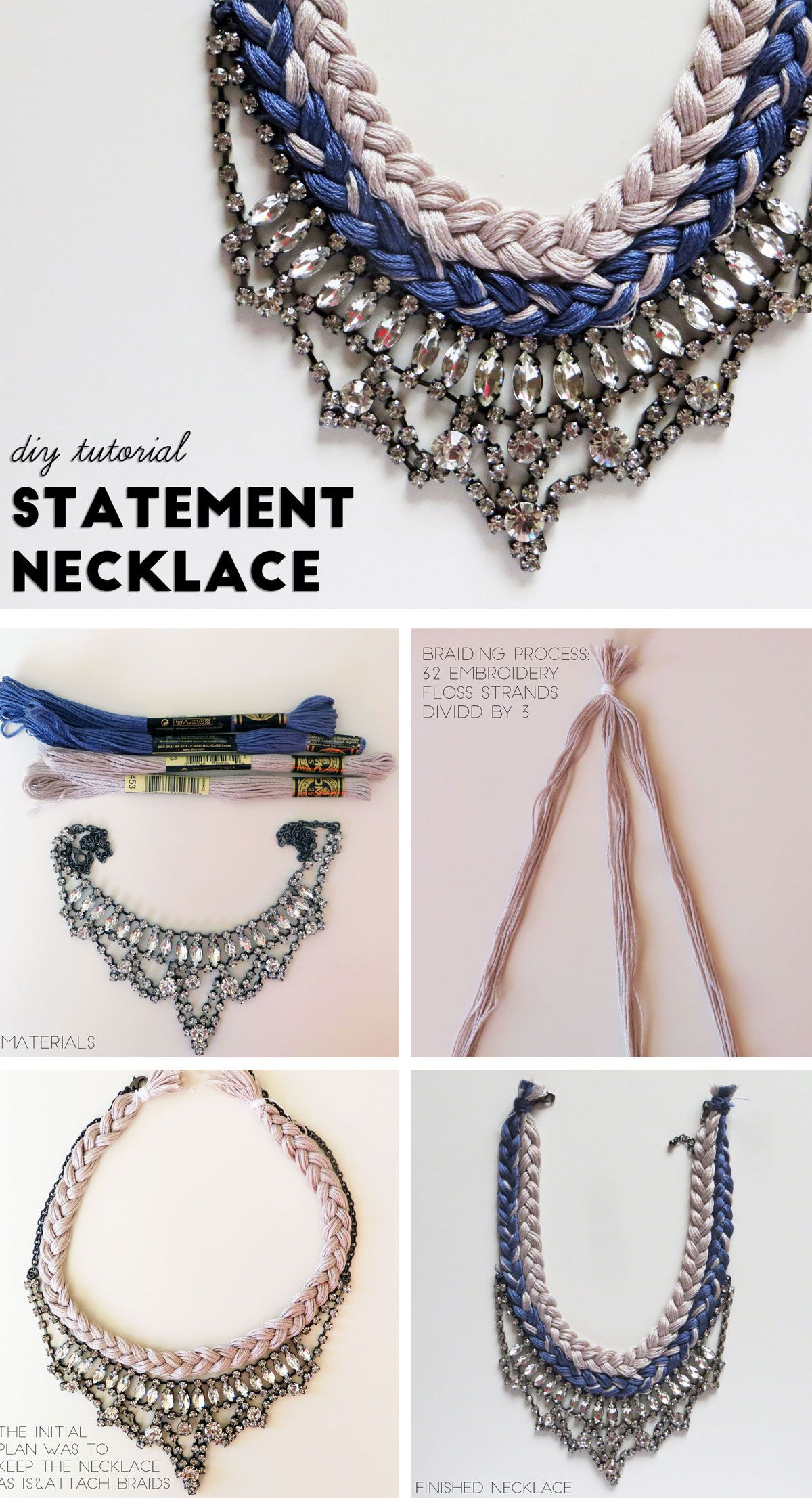 A simple DIY Statement necklace tutorial using a @forever21 necklace and @dmcreativeworld embroidery thread