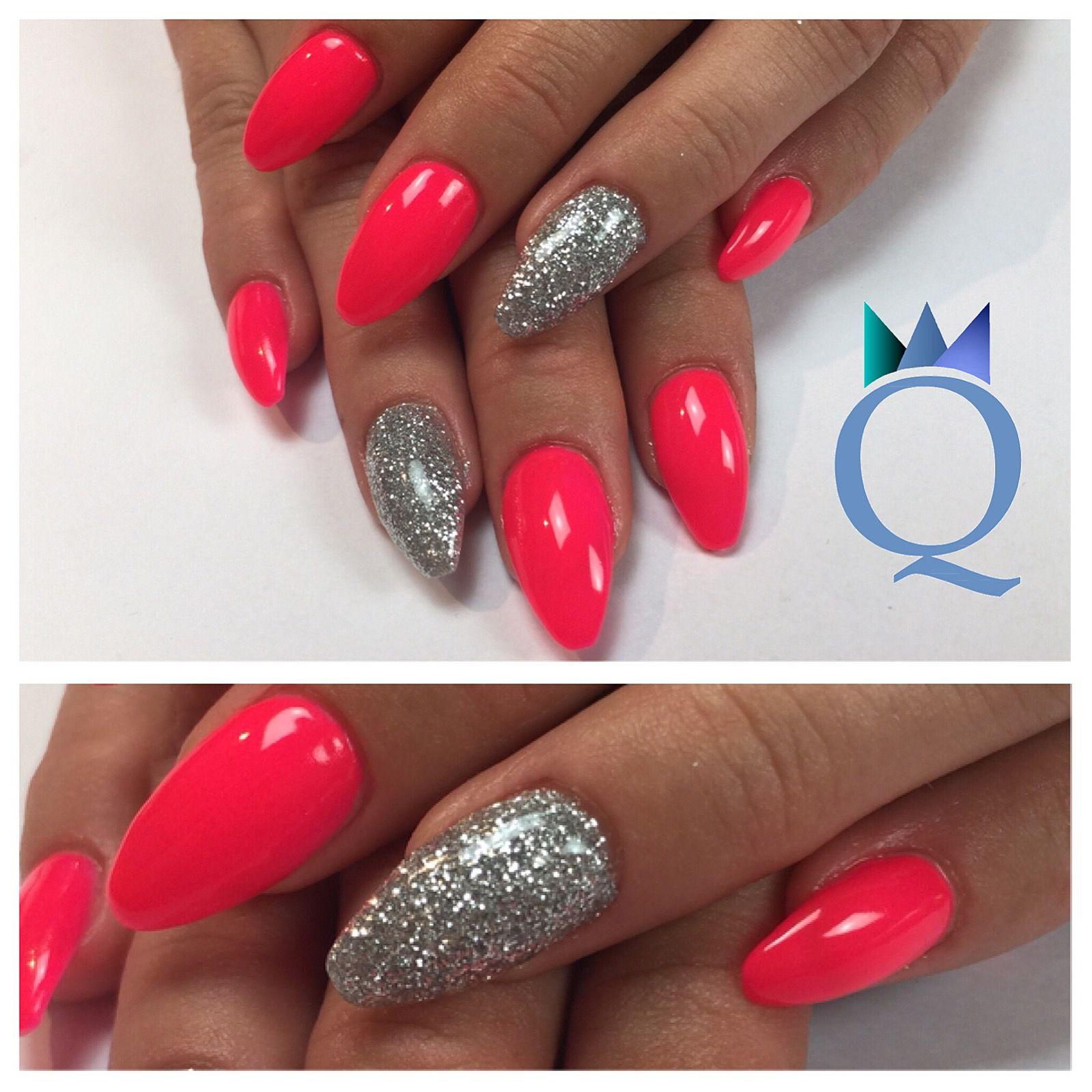 coffinnails gelnails nails neonpink silver glitter ballerinaform geln gel n gel neon. Black Bedroom Furniture Sets. Home Design Ideas