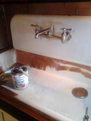 Before Pic Of Enamel Farm Sink Hammered Copper Paint