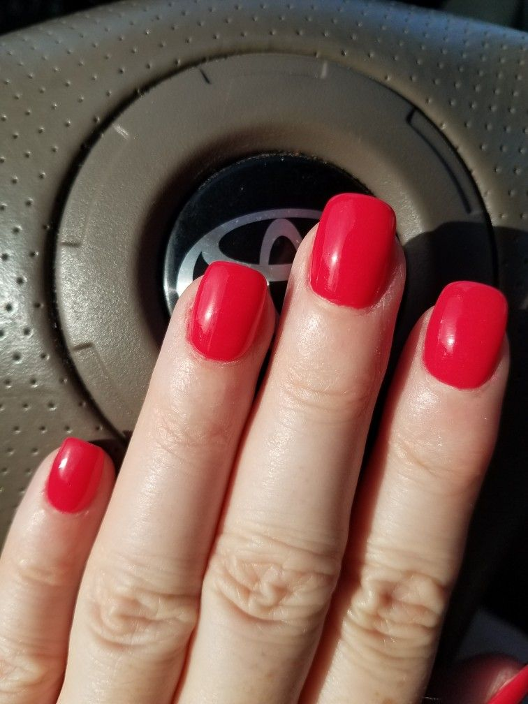 sns #12 pale red dip powder nails