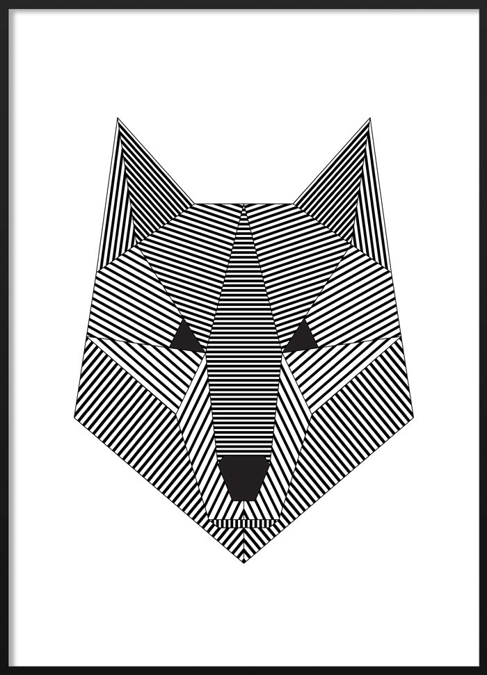 Black and white geometric wolf poster #blackandwhite #modern ...