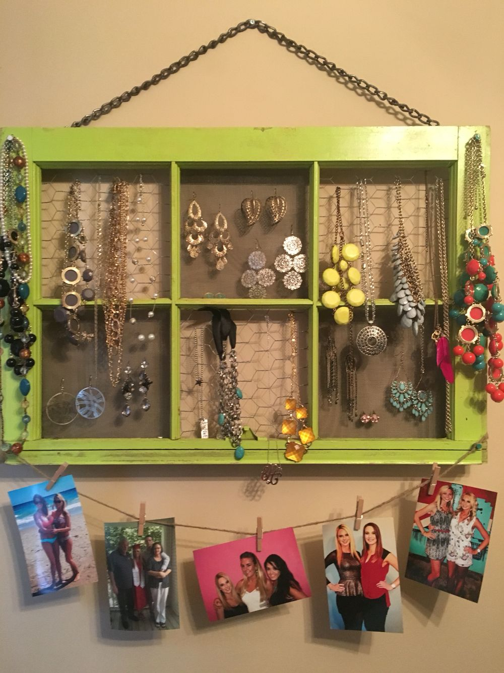 DIY jewelry organizer  Paint or find an old window pane  I