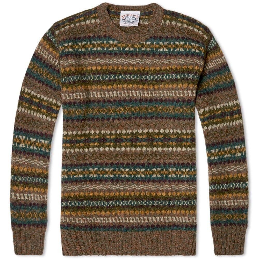 Jamieson's of Shetland Jacquard Fair Isle Crew Neck Knit (Olive ...