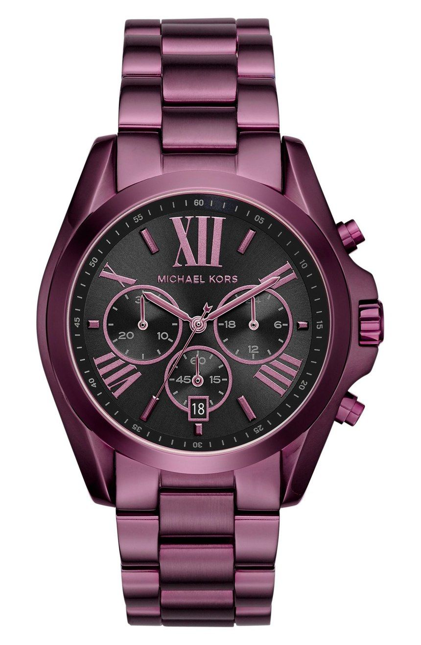 746cc5baccef6 Currently crushing on this Michael Kors watch in a bold plum color with a  black dial.