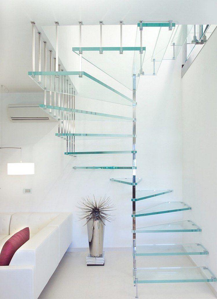 Wendeltreppe Glasstufen Stahl Wohnzimmer in Weiß #modern #stairs ...