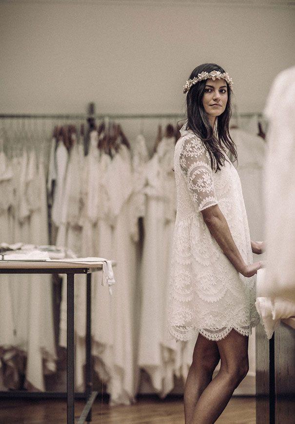 laure de sagazan short casual bridal gown wedding dress french chic2 the fusion movement