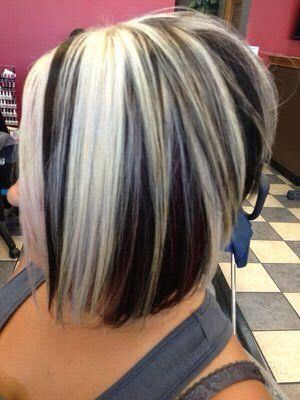Short Hair With Chunky Highlights Blonde Highlights On Dark Hair Short Hair Styles Hair Highlights