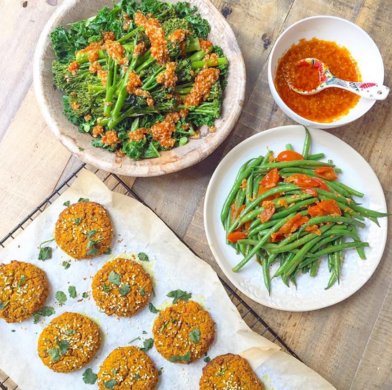 My DE team testing recipes. How yum does it all look? Sweet potato falafel patties, sesame and harissa greens and garlicky tomato green beans