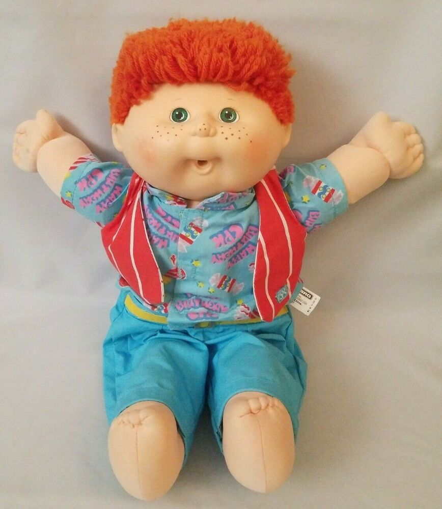 Cabbage Patch Kids Birthday Doll Boy Freckles Red Fuzzy Hair Hasbro Blower Mouth Ebay