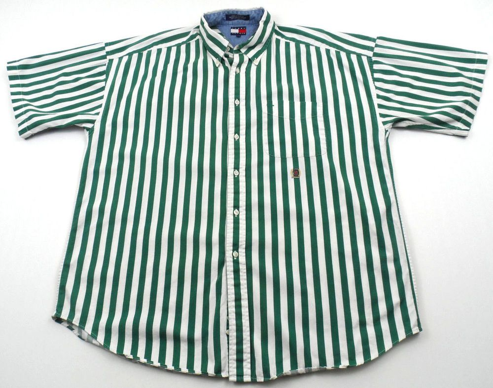 4ce67fff4 Vintage Tommy Hilfiger Green Cream Striped Short Sleeve Shirt Mens Large L  VTG #TommyHilfiger #ButtonFront