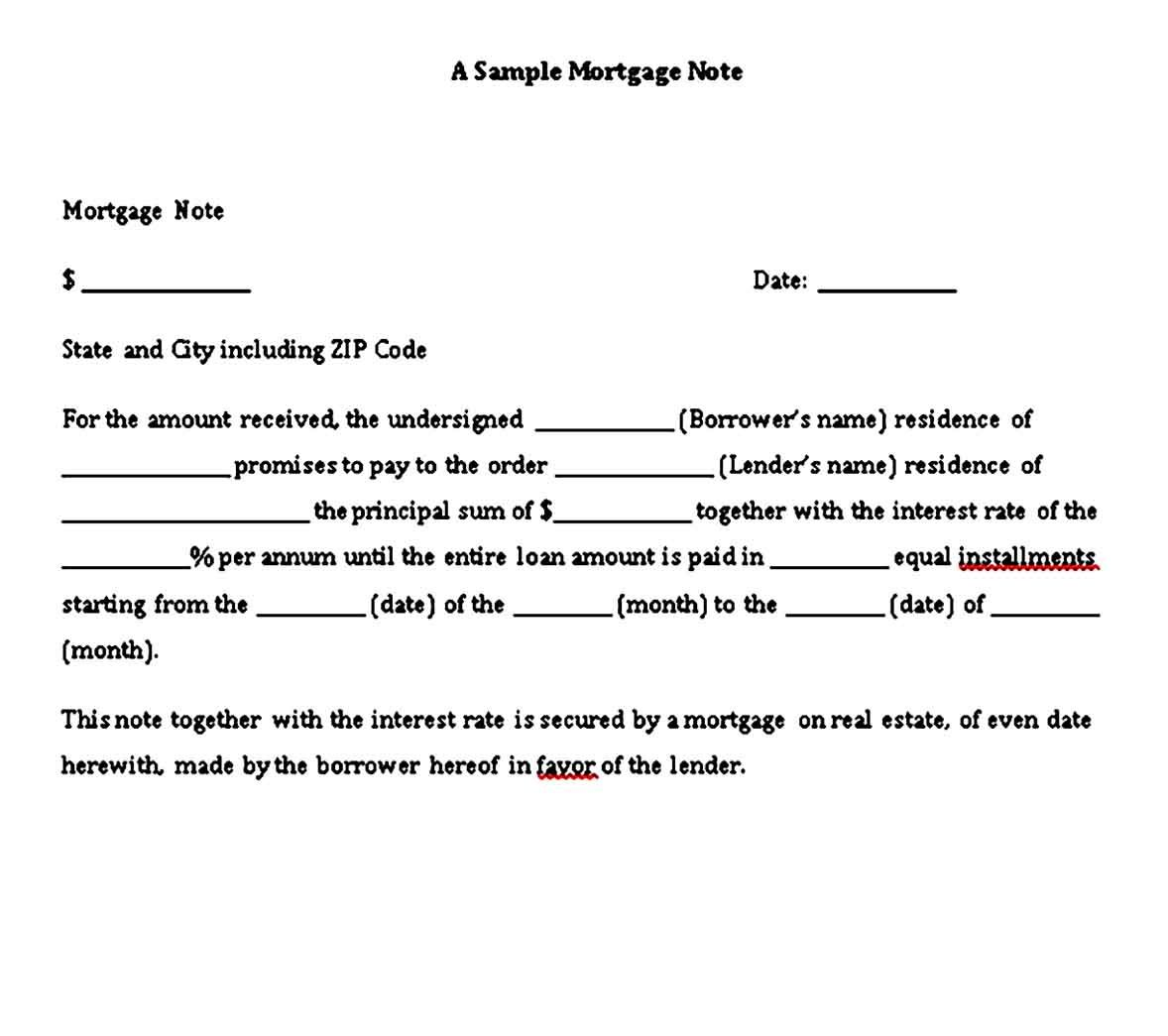 Sample Mortgage Promissory Note in 2020 Promissory note