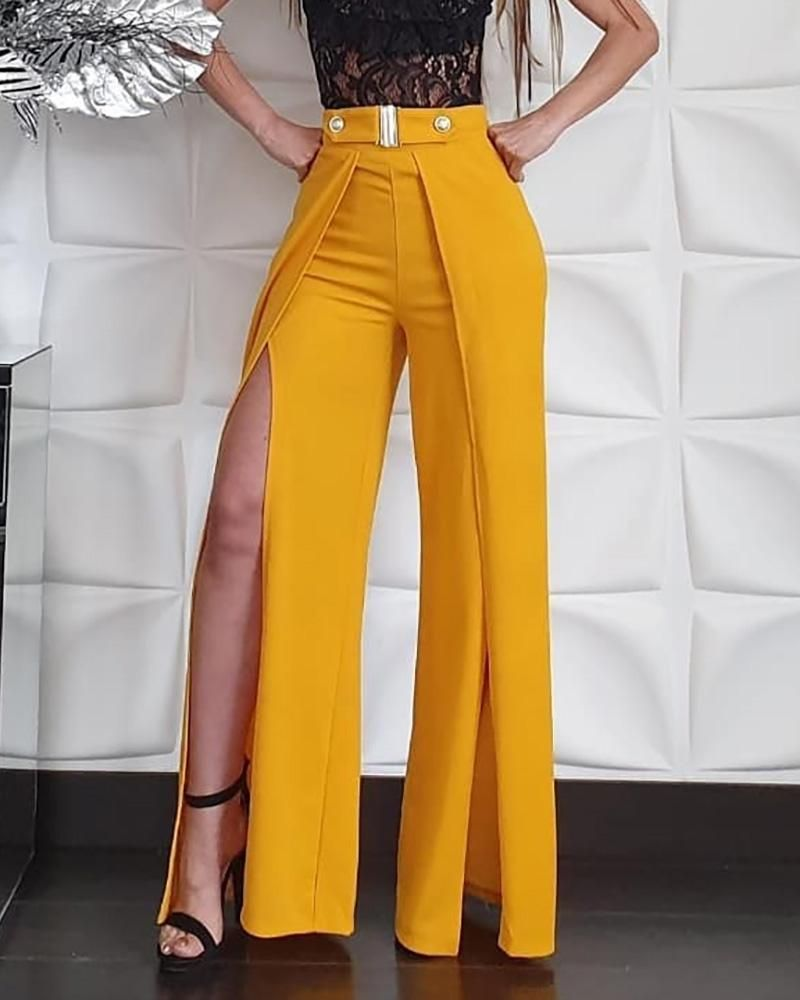 Photo of Solid High Waist Slit Leg Pants