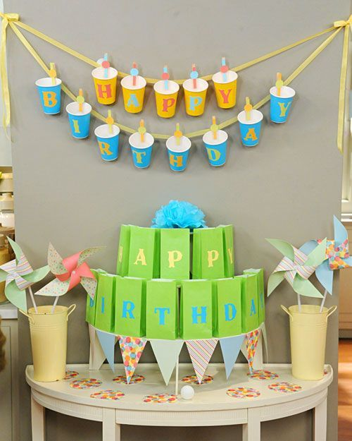 Image result for Birthday decor from paper cups banners