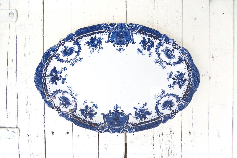 Flow Blue Platter, Blue and White Platter, Wedgwood Collectible, Large Oval Vintage Platter, Antique Porcelain Platter, 19 inch Platter by Swede13 on Etsy https://www.etsy.com/listing/465548655/flow-blue-platter-blue-and-white-platter