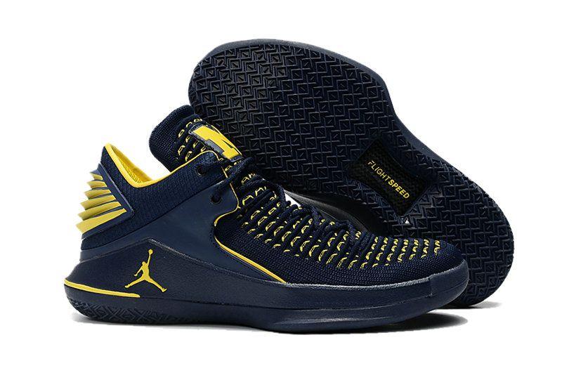 Jordan Sneakers Wholesale Cheap Nike Air Jordan XXXII Yellow Navy Blue