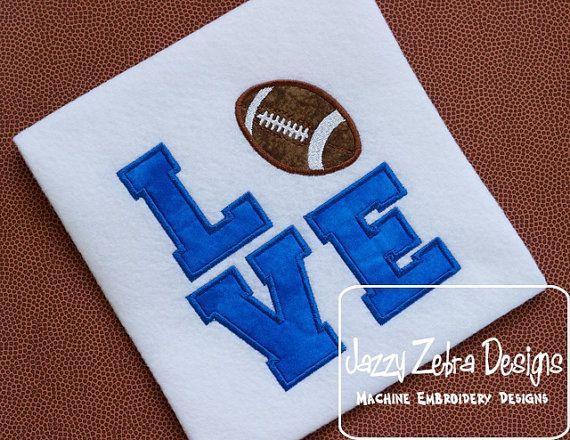 Love Football Applique Design