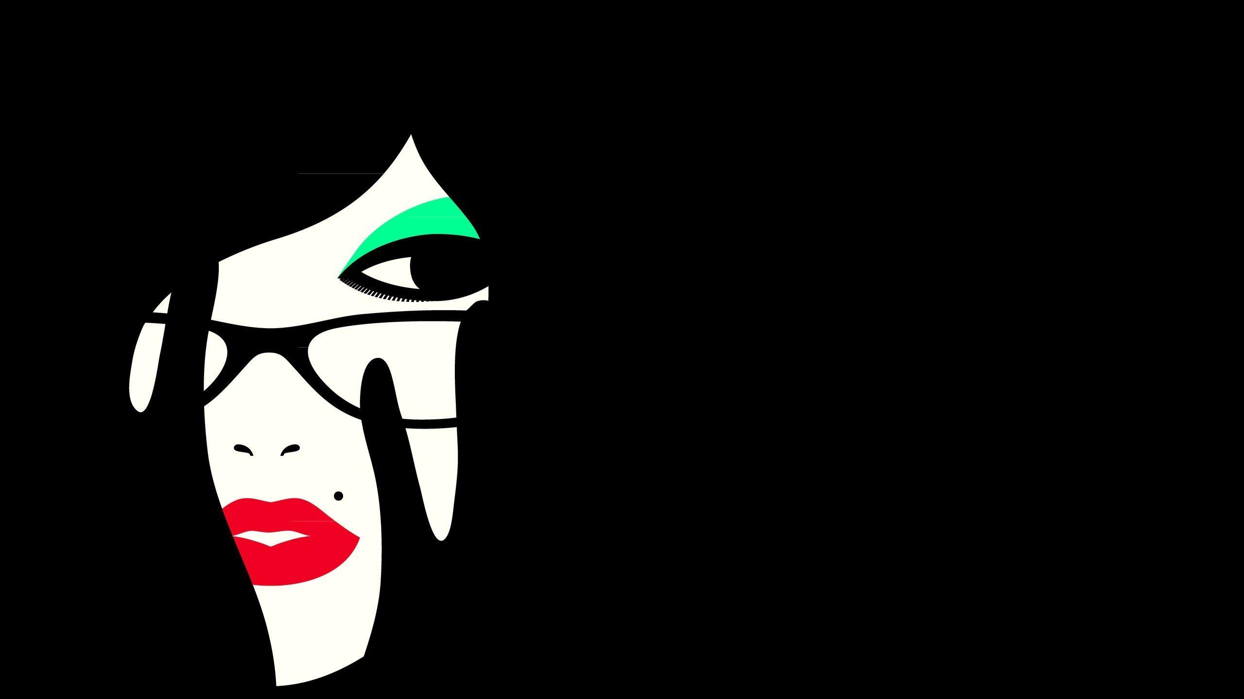 2560x1440 Wallpaper Girl Face Makeup Minimalism Vector
