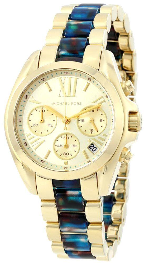 69a7d8ce55f Relógio feminino com pulseira de aço dourada com detalhes de resina azul  Relógio com mecanismo quartz