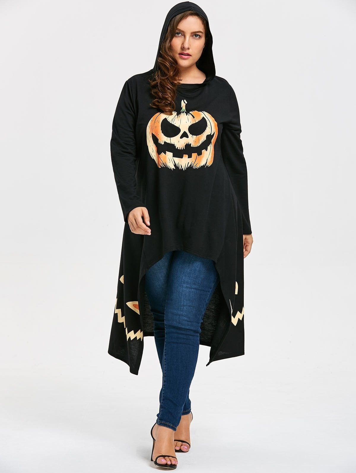 25e0c5bdcae High Low Hooded Halloween Pumpkin Plus Size Tee