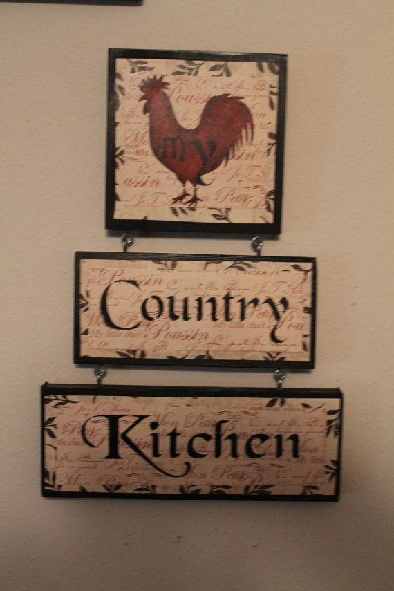 Country Kitchen Sign Decor Home Rooster Housewarming Gift Ready To Ship