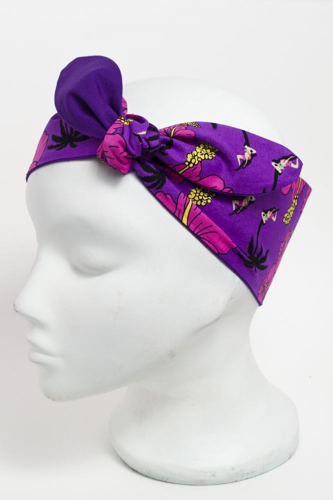 Hawaiian Hibiscus fabric print head scarf. Purple with hot pink flowers/ purple back. http://bad-kitty.co.uk/product/hawaiian-hibiscus-fabric-print-head-scarf/