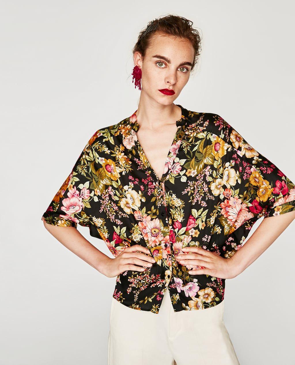 blusa cruzada de mujer en zara