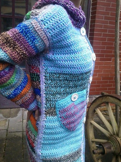 crochet sweater multi. Inspiration. I love this! IDEA ONLY