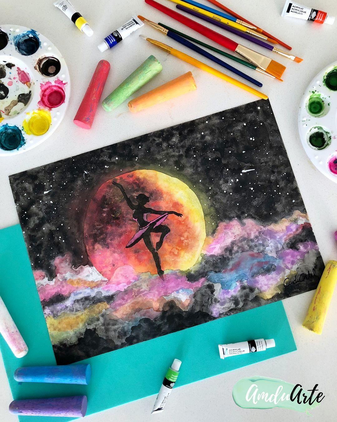 Bailando En La Luna Dibujo Hecho En Acuarela Pasteles Y Marcadores Tamano 30 X 40 Cm By Amduarte Canvas Pictures Duarte Diy Projects Videos