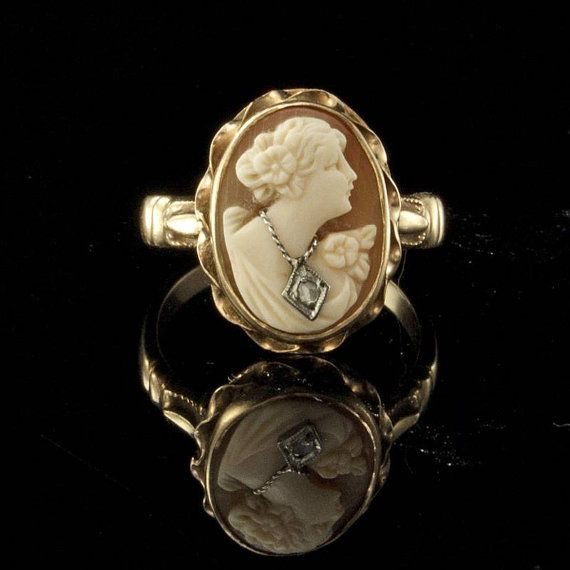 Gold Ring Antique Edwardian Shell Cameo Lady by EtsyClassic, $225.00