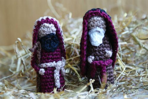 Amigurumi Nativity Free Download : Crochet shepherds part of nativity amigurumi set finger puppets