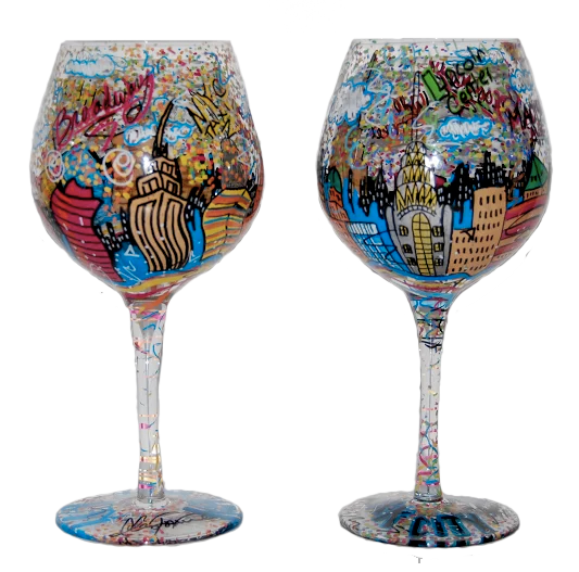 New York City Wine Glasses - Hand painted wine glasses by Charles Fazzino.  #popart