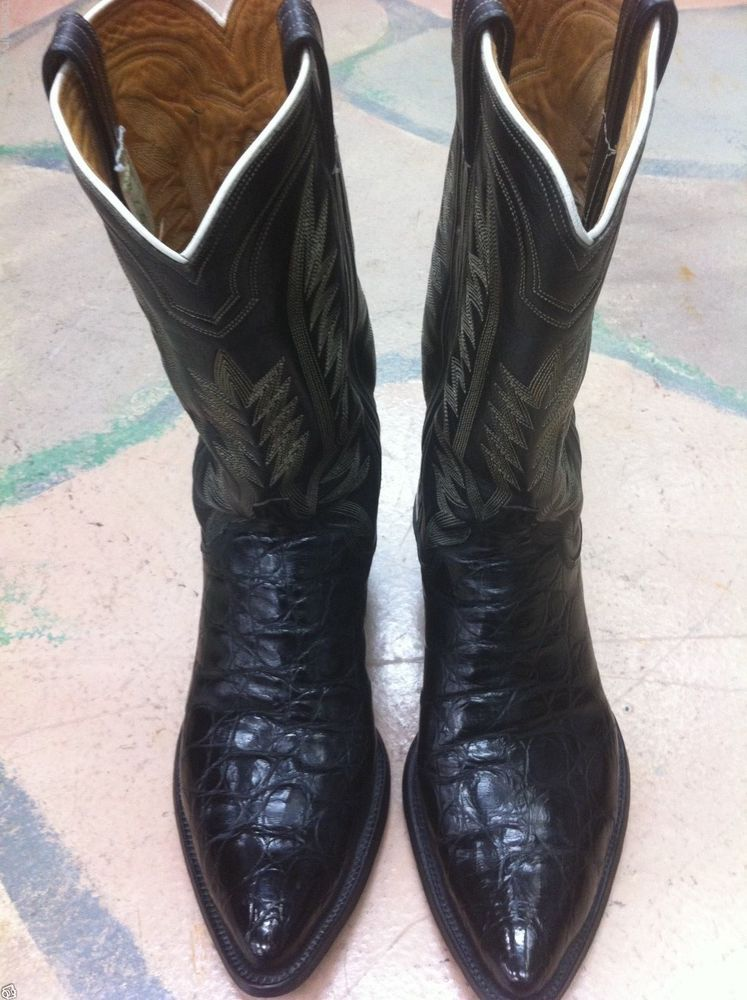 Vintage Super RARE M L Leddy Custom Alligator Croc Cowboy Boots 10D Wide |  eBay