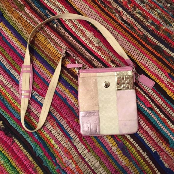 Authentic Coach Cross Body Bag Lavender, cream and silver Coach cross body bag. Perfect for a date night or a night on the town. Love this bag, just don't use it enough to keep. Coach Bags Crossbody Bags