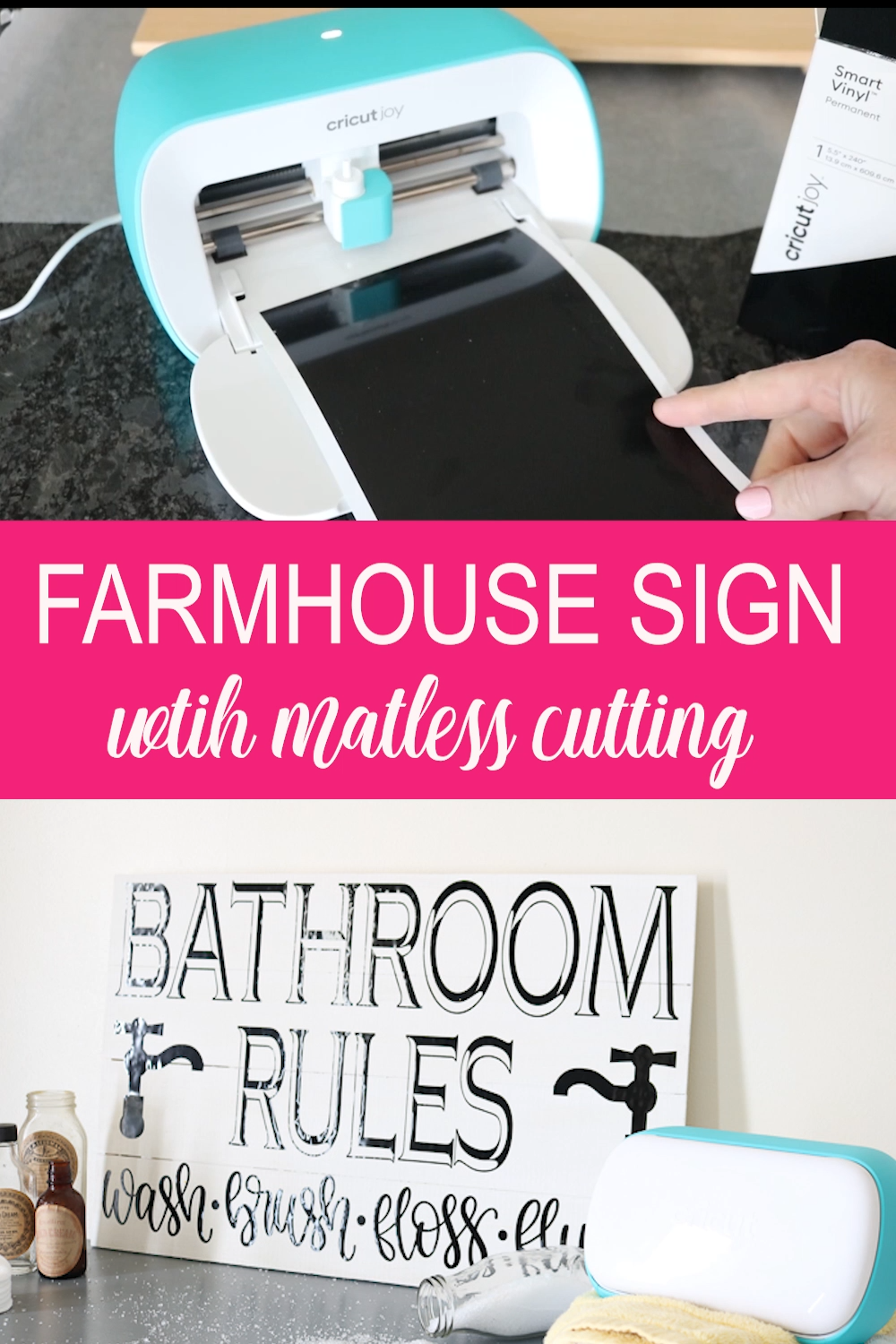 The matless cutting feature allows you to make BIG signs with the small Cricut Joy! Get the cut file for this one and make it for yourself! #cricut #cricutjoy #cricutcreated #farmhouse #farmhousestyle #cricutprojects #crafts #diy