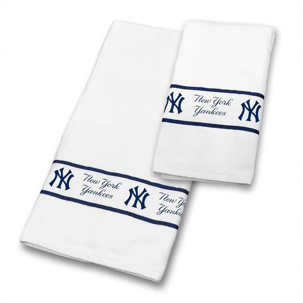 New York Yankees 4 Pc Bathroom Towel Set Includes 2 Bath Towels