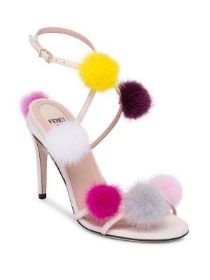Fendi Fur Pom Pom Sandals 4V9H7