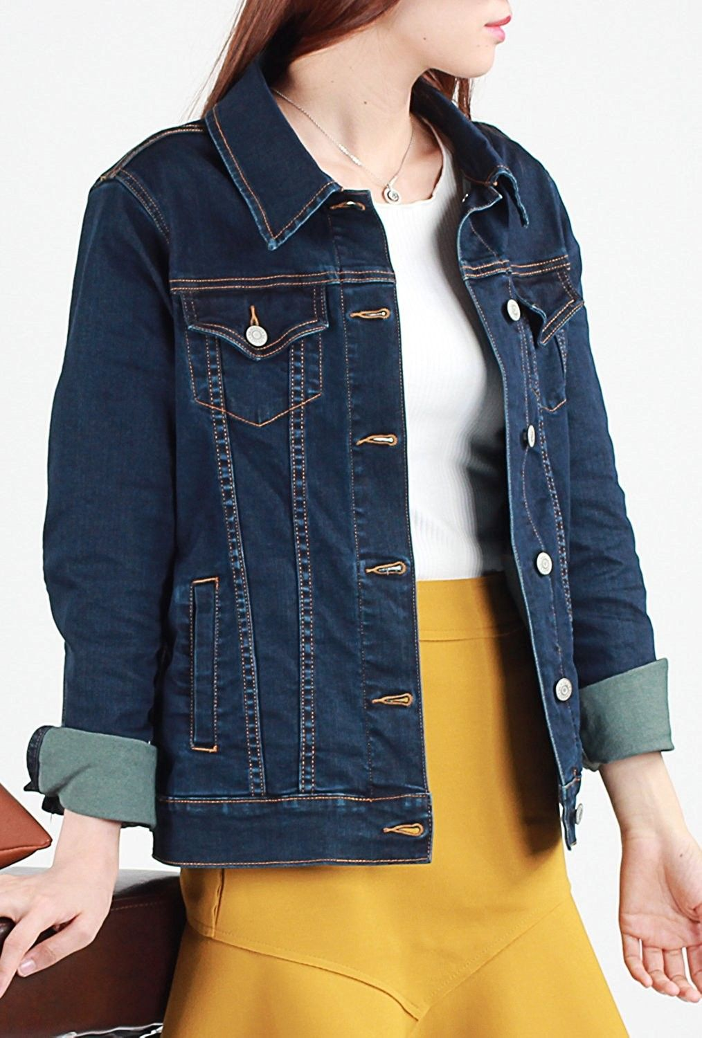 Denim Jacket Classic Long Sleeve Button Down Jean Jacket With
