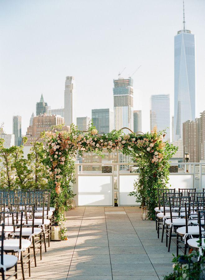 New York Skyline Outdoor Wedding Ceremony Http Www Stylemepretty
