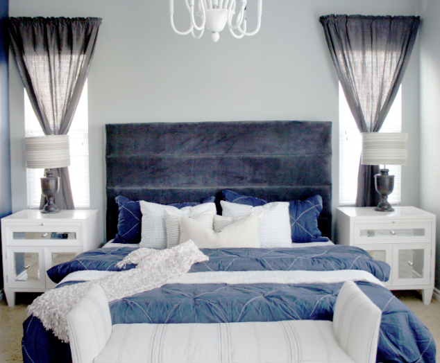 Dark Gray Blue Bedroom cole barnett: navy blue and gray master bedroom remodel | the