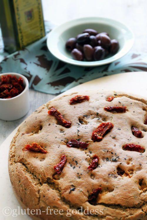 Gorgeous gluten-free sun-dried tomato bread, from Gluten-Free Goddess.