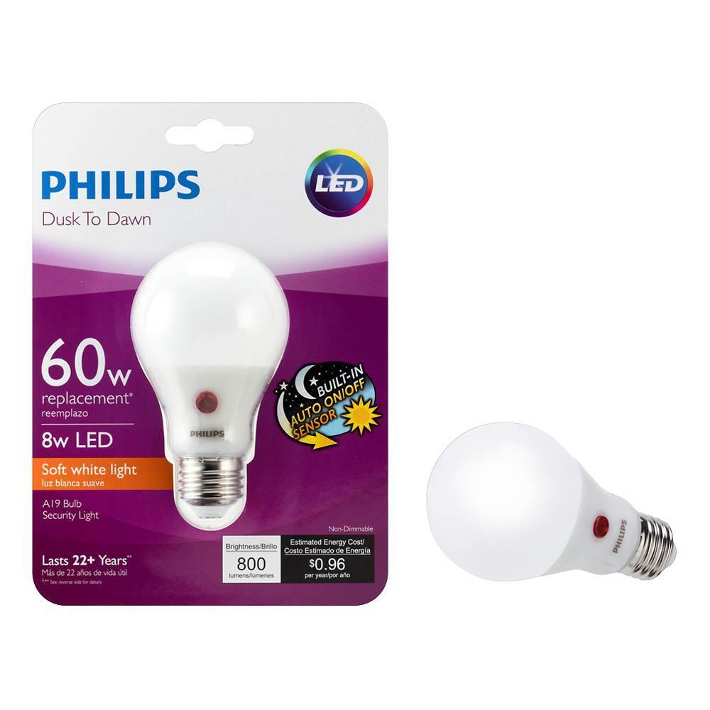 Philips 60 Watt Equivalent A19 Dusk To Dawn Automatic On Off Energy Saving Led Light Bulb Soft White 2700k 4 Pack 466565 The Home Depot Led Light Bulb Philips Led Light Bulb